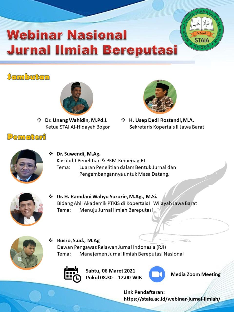 STAI Al-Hidayah Bogor Sukses Gelar Webinar Nasional